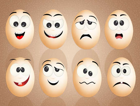 agitated: eggs with funny faces