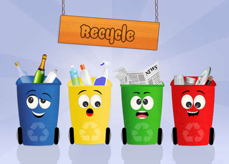 refuse: bins for recycle Stock Photo