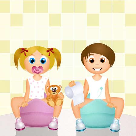 young girl bath: Children on Potty
