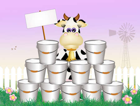 milk pail: cow in the farm Stock Photo
