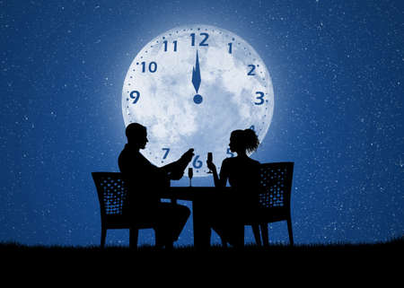romantic: romantic dinner for the New Year