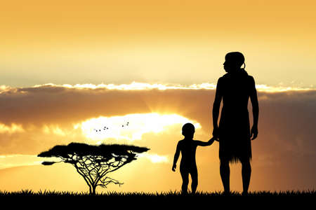 indigenous: Indigenous man with son at sunset