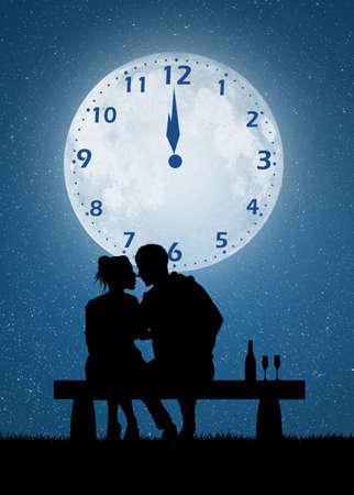 祝う: couple celebrate the New Year
