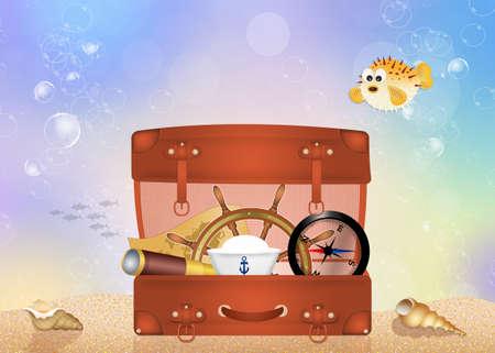 puffer fish: suitcase traveler Stock Photo
