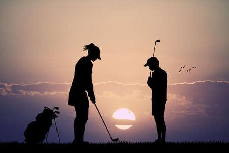 plays: couple plays golf