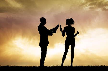girl glasses: couple toast at sunset Stock Photo