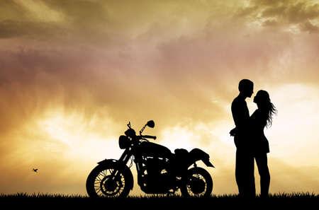 motorrad frau: Paar k�ssen auf dem Motorrad