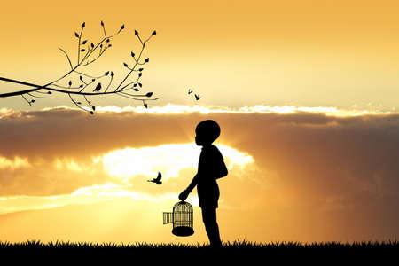 arbol pájaros: niño con jaula de pájaros al atardecer