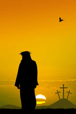 Jesus silhouette Stock Photo