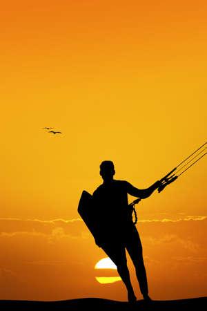 adrenalin: kite surf at sunset