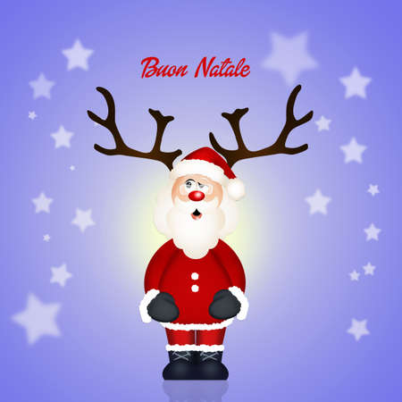 bocinas: Santa Claus con cuernos Foto de archivo