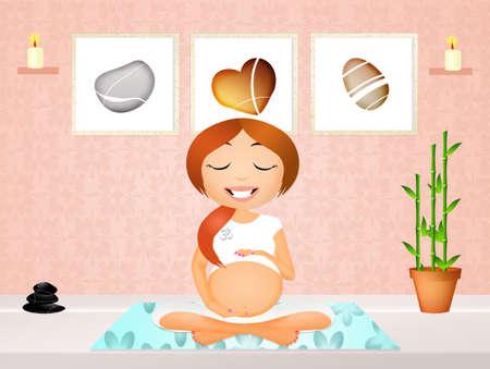 pregnancy exercise: pregnant woman doing yoga Stock Photo