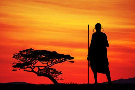 tribu: Masai en paisaje africano Foto de archivo