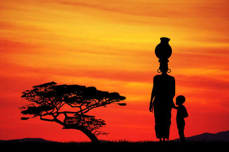 acacia: African woman with child in African landscape