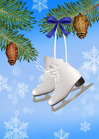 ski pass: ice skates on tree Stock Photo