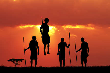 masai: Masai dance at sunset Stock Photo
