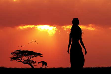 zulu: African woman at sunset