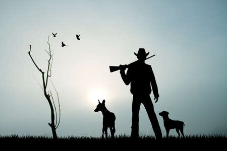 gun license: hunter with dog at sunset