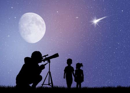 Les gens regarde la lune dans le télescope Banque d'images - 49518212