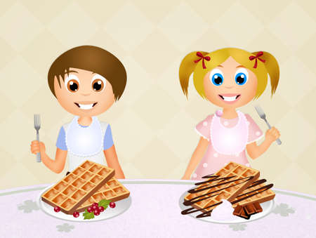 children eating: children eating waffles Stock Photo