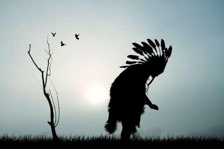 원주민 아메리카 인디언 실루엣