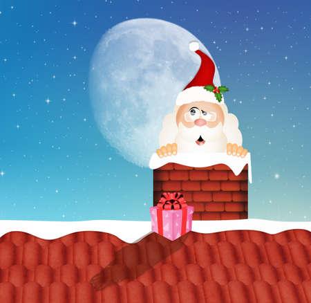 chimney: Santa Claus in the chimney