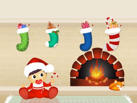 fireplace christmas: Christmas socks on the fireplace