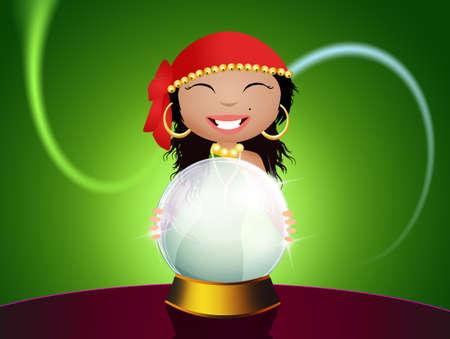 gitana: gitana con la bola de cristal