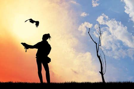 rapacious: falconer girl silhouette at sunset