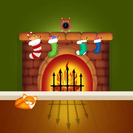 christmas socks: Christmas socks on chimney