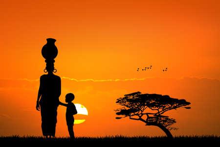 아프리카 여자와 아프리카 풍경의 아이