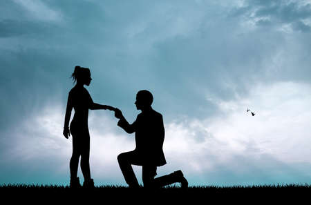 propose: man propose to woman Stock Photo