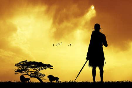 masai: Masai in African landscape