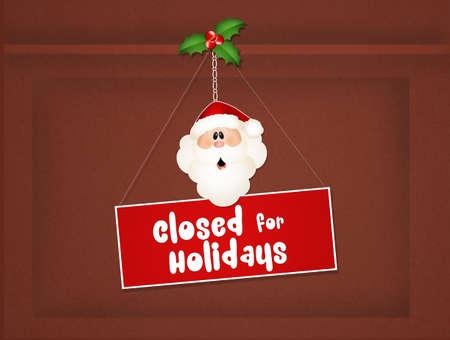 cerrar puerta: cerrado por vacaciones de Navidad