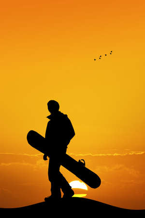 snowboarder: snowboarder silhouette at sunset