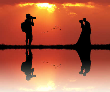outdoor event: Wedding photographer service at sunset