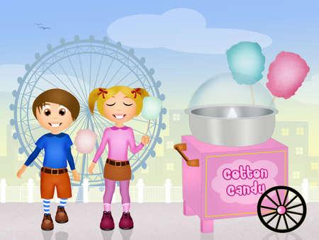 cotton candy: ni�os comiendo algod�n de az�car