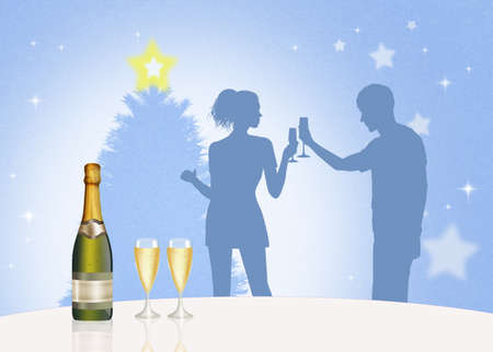 toasting: man and woman are toasting to the new year Stock Photo