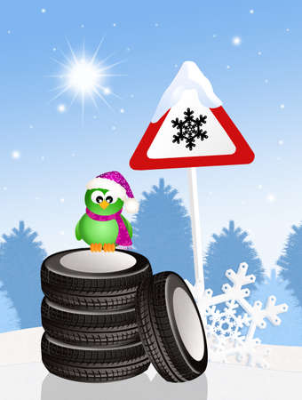 funny bird on snow tires Reklamní fotografie