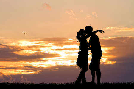 carefree: kissing at sunset