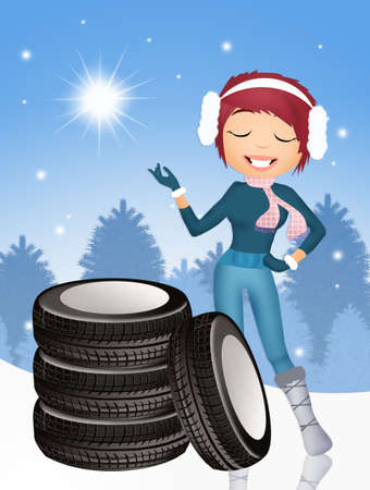 snow tires: girl with snow tires Stock Photo