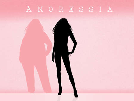 anorexia: woman suffering from anorexia Stock Photo