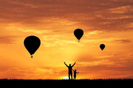 adrenaline: hot air balloon at sunset Stock Photo