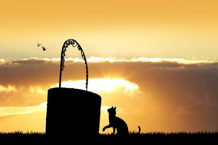 wishing: the wishing well at sunset Stock Photo
