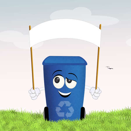 differentiate: blue bin for recycle Stock Photo
