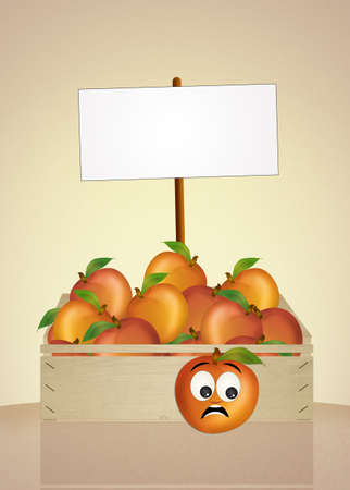 greengrocer: funny peach Stock Photo