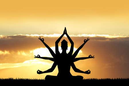 tantric: Goddess Kali at sunset