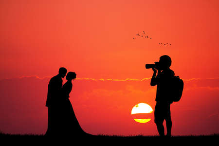outdoor event: photographer wedding service at sunset