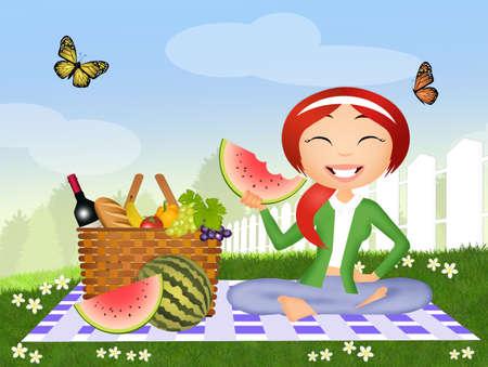 watermelon woman: girl eating watermelon at the picnic Stock Photo