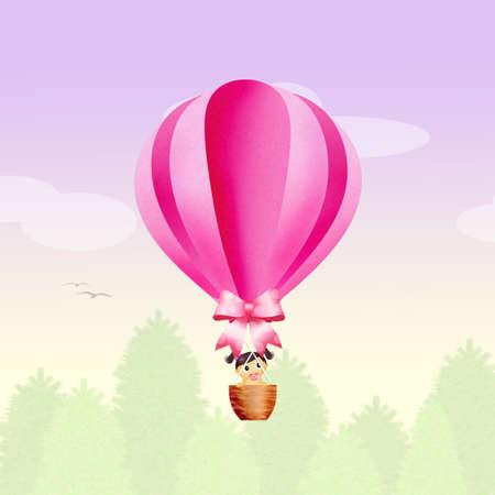 baby girl: baby girl on hot air balloon Stock Photo